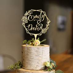Personalized Mr. & Mrs./Flower/Wreath Acrylic/Wood Cake Topper