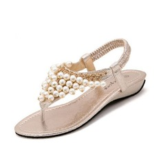Leatherette Wedge Heel Sandals With Imitation Pearl shoes