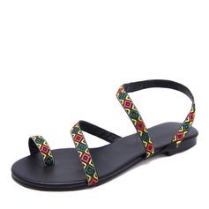 Kadın Suni deri Düz Topuk Sandalet Daireler Peep Toe Ile Kurdele ayakkabı