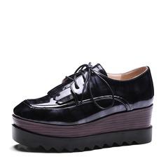 Frauen PU Keil Absatz Absatzschuhe Plateauschuh Geschlossene Zehe Keile mit Zuschnüren Schuhe