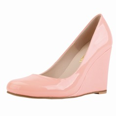 Women's Patent Leather Wedge Heel Closed Toe Wedges shoes