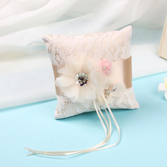 Beautiful Lace/Cloth Ring Pillow With Ribbons/Artifical Flower