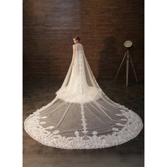 Embroidered lace and  Luxury  tulle cathedral Bridal Veils with wraps