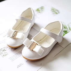 Girl's Round Toe Closed Toe Leatherette Flat Heel Flats Flower Girl Shoes With Buckle Velcro