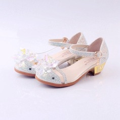 Girl's Closed Toe Leatherette Flat Heel Flats Flower Girl Shoes With Buckle Rhinestone