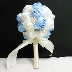 Classic Round Satin Bridal Bouquets (Sold in a single piece) - Bridal Bouquets