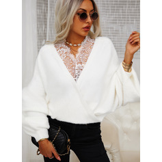 V-Neck Long Sleeves Solid Casual Pullovers (1002265214)