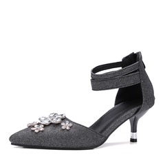 Women's Sparkling Glitter Spool Heel Sandals Pumps With Rhinestone Zipper shoes