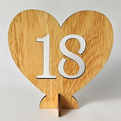 """Love""/""Happy Wedding"" Heart Shaped Wooden Table Number Cards"