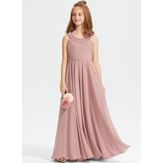 A-Line Scoop Neck Floor-Length Chiffon Junior Bridesmaid Dress With Ruffle Beading
