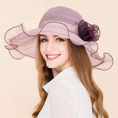 Ladies' Elegant Polyester With Silk Flower Floppy Hat (196121651)