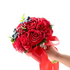 Round Satin/Silk/Emulational Berries Bridal Bouquets -