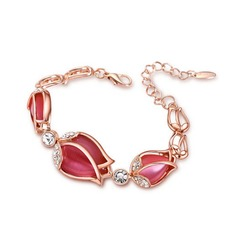 Flower Shaped Alloy/Rhinestones With Cat's Eye Ladies' Bracelets
