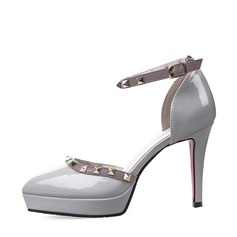 Women's Patent Leather Stiletto Heel Closed Toe Platform Pumps Sandals MaryJane With Buckle