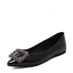 Women's PU Flat Heel Flats Closed Toe With Rhinestone shoes (086139679)