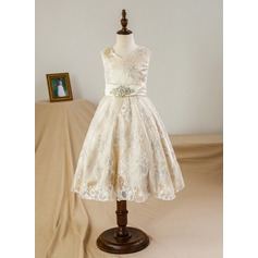 A-Line/Princess Tea-length Flower Girl Dress - Satin/Tulle/Lace Sleeveless V-neck With Bow(s)/Rhinestone