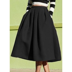 A-Line Skirts Mid-Calf Plain Cotton Blends Skirts (1005163001)