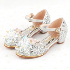 Girl's Closed Toe Sparkling Glitter Flat Heel Flower Girl Shoes With Buckle Rhinestone Sparkling Glitter