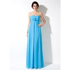 Empire Sweetheart Floor-Length Chiffon Maternity Bridesmaid Dress With Cascading Ruffles (045022462)