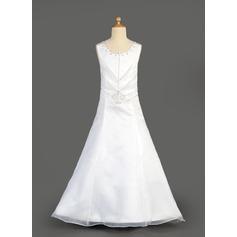 A-Line/Princess Floor-length Flower Girl Dress - Organza/Satin Sleeveless Scoop Neck With Beading/Sequins