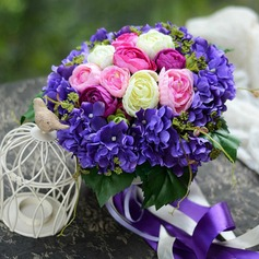Fancy Round Satin Bridal Bouquets -