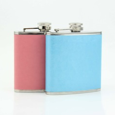 Solid-Color Stainless Steel/Leather Flasks (051052625)