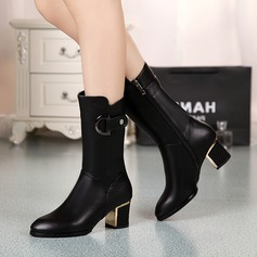 Women's Leatherette Chunky Heel Closed Toe Boots Mid-Calf Boots With Buckle shoes
