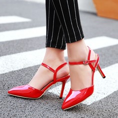 Women's Leatherette Stiletto Heel Sandals Closed Toe With Buckle shoes