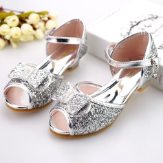 Girl's Peep Toe Leatherette Low Heel Sandals Flower Girl Shoes With Bowknot Buckle Sparkling Glitter