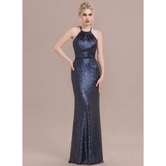 Sheath/Column Halter Floor-Length Sequined Evening Dress With Bow(s)