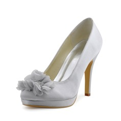Women's Silk Like Satin Stiletto Heel Closed Toe Pumps With Flower