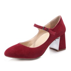 Women's Suede Chunky Heel Closed Toe Pumps With Buckle