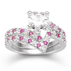 Sterling Silver Cubic Zirconia V Shaped Bypass Heart Cut Bridal Sets Cocktail Rings -