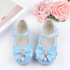 Girl's Leatherette Flat Heel Round Toe Flats With Bowknot Imitation Pearl Velcro