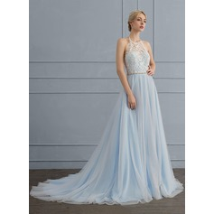 Halter Court Train Tulle Wedding Dress With Beading