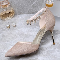 Women's Sparkling Glitter Low Heel Closed Toe Pumps With Tassel