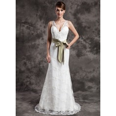 Trumpet/Mermaid V-neck Sweep Train Lace Wedding Dress With Sash Beading Bow(s)