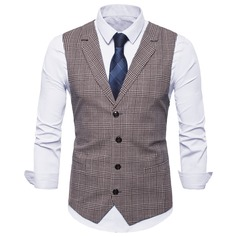 Plaid Polyester Cotton Men's Vest