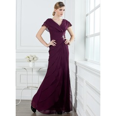 A-Line/Princess V-neck Floor-Length Chiffon Holiday Dress With Ruffle Beading (020032263)