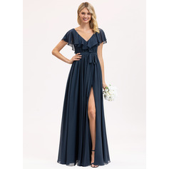 A-Line V-neck Floor-Length Chiffon Bridesmaid Dress With Bow(s) Split Front Cascading Ruffles (007206476)