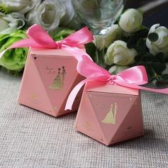 Creative/Elegant/Diamond Design diamond shape Card Paper Favor Boxes With Ribbons