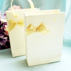 Ivory Handbag Favor Box with Ribbon