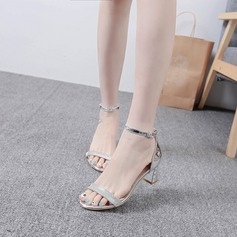 Women's Leatherette Chunky Heel Pumps Sandals With Buckle