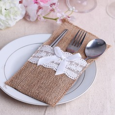 Lovely Linen Cutlery Bag With Ribbons