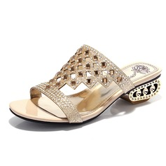 Sparkling Glitter Chunky Heel Sandals Pumps With Rhinestone shoes (087048995)