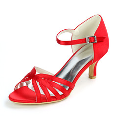 Women's Satin Low Heel Sandals With Buckle