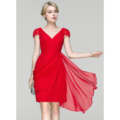 Sheath/Column V-neck Knee-Length Chiffon Cocktail Dress (270214003)