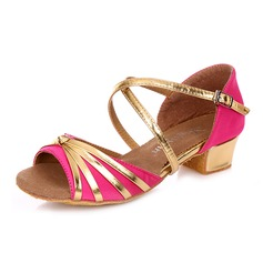 Women's Kids' Satin Leatherette Heels Sandals Latin With Ankle Strap Dance Shoes
