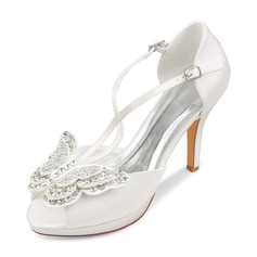 Women's Silk Like Satin Stiletto Heel Peep Toe Platform Pumps With Bowknot Buckle Crystal