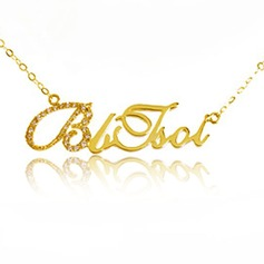 Personalized Ladies' Sparking Gold Plated With Round Cubic Zirconia Name Necklaces For Bride/For Mother/For Friends
